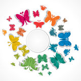 Colorful butterfly. Creative colorful butterfly around round shape Stock Photos