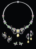 Colorful butterfly diamond jewellery. Butterfly design jewellery of diamonds in various colors, consisting of a necklace and three pairs of earrings royalty free illustration