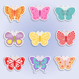 Colorful butterfly. Summer icons, nine bright butterflies Royalty Free Stock Images