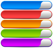 5 colorful button, banner backgrounds - Set of rectangular butto Stock Photo