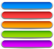 5 colorful button, banner backgrounds - Set of rectangular butto Stock Photography