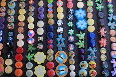 Colorful button collection display Stock Photos