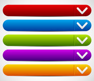 Colorful Button Set With Arrows - Drop Down buttons. Eps 10 Vector Illustration of a Colorful Button Set With Arrows - Drop Down buttons Stock Photo