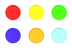 Colorful buttons. Illustration of set of ON and OFF buttons, isolated on white Royalty Free Stock Image