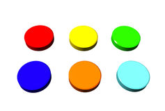 Colorful buttons. Illustration of set of ON and OFF buttons, isolated on white Stock Photos
