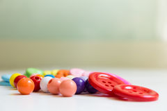 Colorful Buttons and Beads Stock Photos