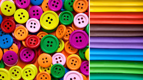 Colorful Buttons and Clay. Heap of buttons and modeling clay in many color variations stock photo