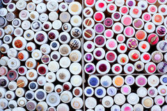 Colorful buttons display round boxes pattern Stock Photo