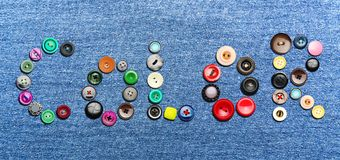 Colorful buttons forming the word 'color' Stock Photo