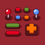 Colorful Buttons and Joysticks Set for Arcade Machine. Vector Royalty Free Stock Images