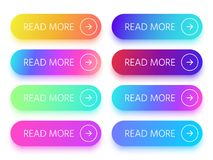 Colorful buttons with Read more sign and arrow icon. Action button with vivid gradient isolated vector icons in vector illustration