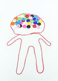 Colorful of buttons sewing with boy shape on white background Royalty Free Stock Image