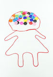 Colorful of buttons sewing with girl shape on white background Stock Images