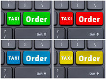 Colorful buttons with taxi order text Royalty Free Stock Photo