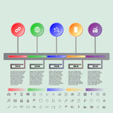 Colorful buttons timeline with set of icons Royalty Free Stock Photography