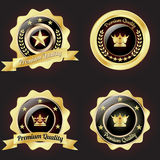 Set of Golden Premium Quality Badge. With stars design Royalty Free Stock Image