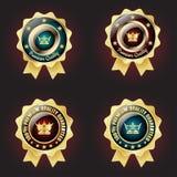 Set of Golden Premium Quality Badge. With stars design Stock Photo