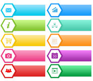 Colorful buttons for Web with hexagons Royalty Free Stock Photography