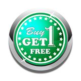 Colorful Buy one get one free web button white background. Colorful buy one get one free web icon button of vector illustration on isolated white background Royalty Free Stock Photo