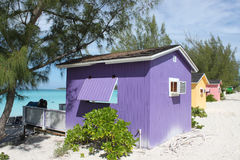 Colorful Cabanas on tropical beach Royalty Free Stock Photo