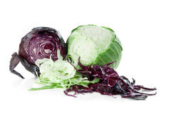 Colorful cabbage. Partly sliced cabbage isolated on white background Royalty Free Stock Image