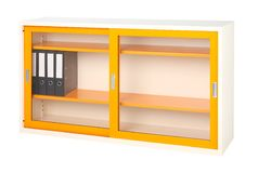 Orange steel cabinet isolated   Stock Image