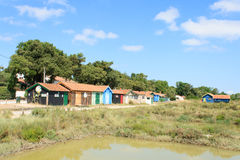 Colorful cabins on the island oleron france. Royalty Free Stock Images