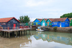 Colorful cabins on the island oleron france. Royalty Free Stock Photos