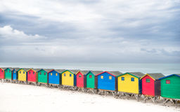 Colorful Cabins Muizenberg. Colorful cabins at Muizenberg beach - South Africa Stock Image