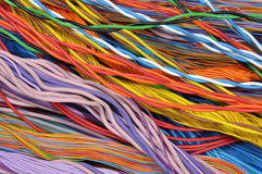 Colorful cable of computer and internet network. Background Royalty Free Stock Images