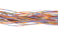 Colorful cable of telecommunication network. Isolated on white background Royalty Free Stock Photography