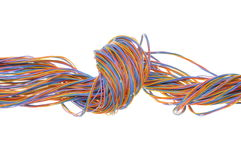 Colorful cable of telecommunication network Stock Photos