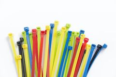 Free Colorful Cable Ties Isolated On White, Nylon Cable Ties Stock Photography - 122653202