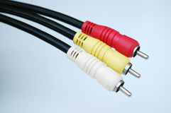 Colorful cables. Colorful audio or video cables stock image