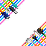 Colorful cables and plugs in corners isolated vector Royalty Free Stock Photo