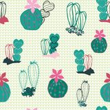 Colorful cacti in the desert cartoon style in a mixed line art and filled shapes on a textured canvas-like background. Vector. Seamless pattern. Great for vector illustration