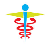 Colorful caduceus medical symbol icon vector isolated white background. Royalty Free Stock Images