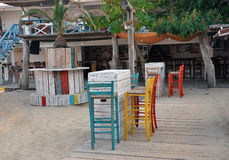 Colorful cafe bar at the beach Stock Images
