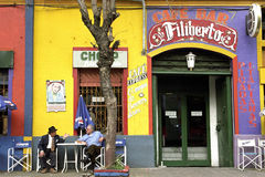 Colorful cafe in resort town La Boca, Buenos Aires Stock Photography