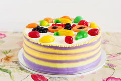 Colorful cake with fruit jelly for kids party Stock Photography