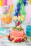 Colorful cake made from fruits stock image