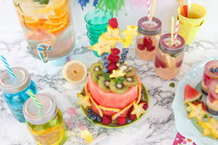 Colorful cake made from fruits Stock Images