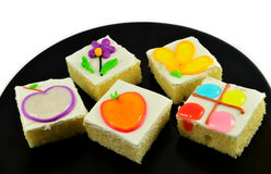 Colorful cake on plate Royalty Free Stock Photography