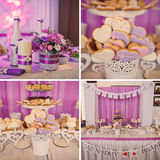 Colorful cakes collage. Dessert table for a party. Ombre cake, c Royalty Free Stock Photos