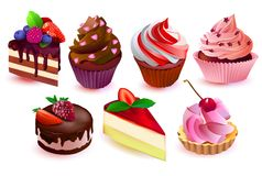 Colorful cakes collection Stock Photo