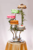 Colorful cakes on multi-storey stage Royalty Free Stock Image