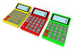 Colorful calculator. 3D calculator concept - on white background Royalty Free Stock Photography