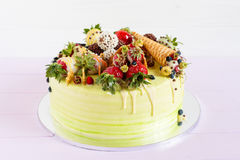 Colorful cale with summer fruit Royalty Free Stock Images