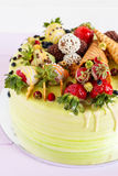 Colorful cale with summer fruit Royalty Free Stock Image