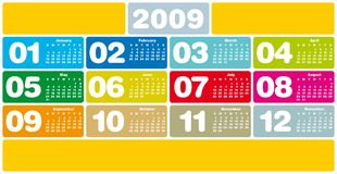 Colorful calendar 2009. Colorful Calendar for 2009. with space reserved for logo and/or text Royalty Free Stock Image